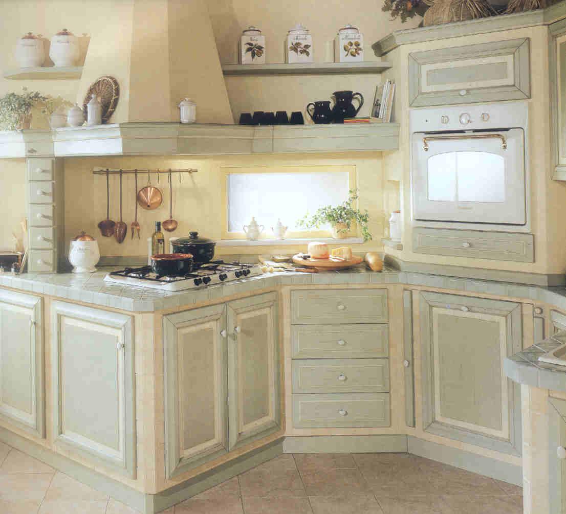 29 : Verde Acqua Arredo Cucina Anni Di Vero Legno Massello Laccato Co #936138 1106 1005 Foto Cucine Moderne Con Isola